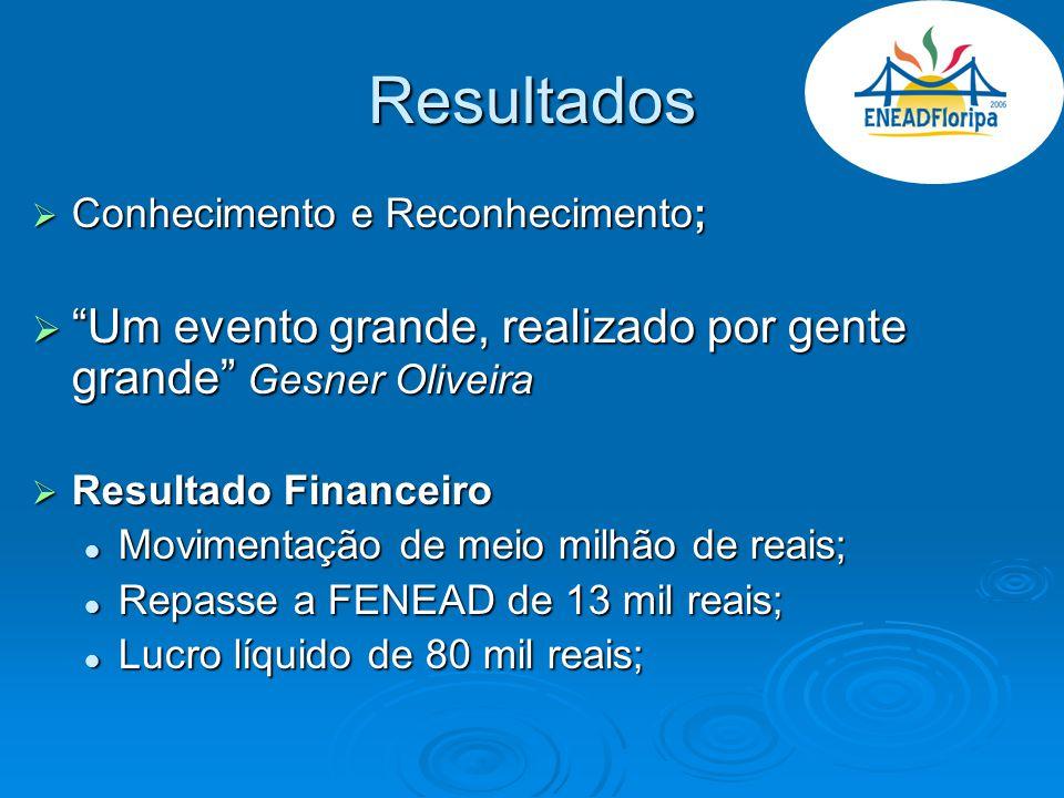 Resultados Conhecimento e Reconhecimento; Conhecimento e Reconhecimento; Um evento grande, realizado por gente grande Gesner Oliveira Um evento grande
