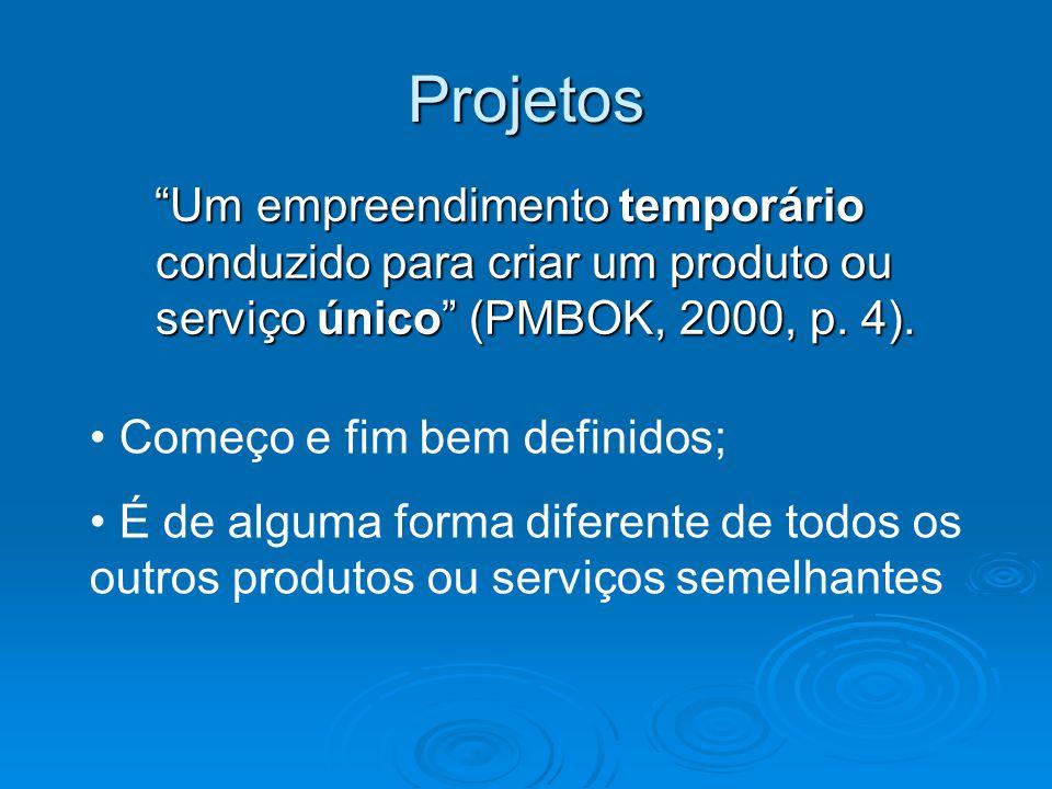 Projetos Um empreendimento temporário conduzido para criar um produto ou serviço único (PMBOK, 2000, p. 4). Um empreendimento temporário conduzido par