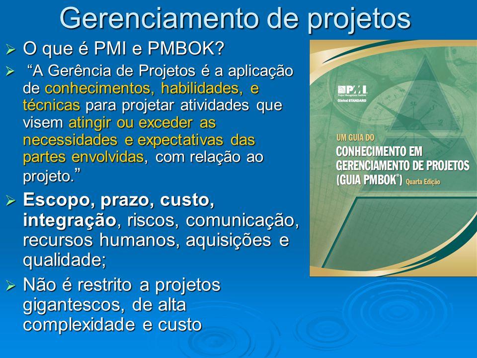 Gerenciamento de projetos O que é PMI e PMBOK? O que é PMI e PMBOK? A Gerência de Projetos é a aplicação de conhecimentos, habilidades, e técnicas par