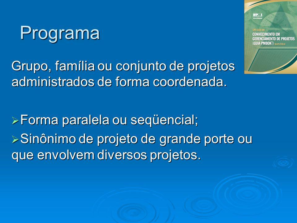 Programa Grupo, família ou conjunto de projetos administrados de forma coordenada. Forma paralela ou seqüencial; Forma paralela ou seqüencial; Sinônim