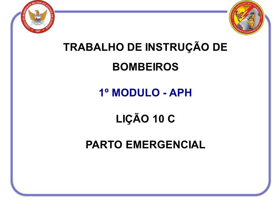 TRABALHO DE INSTRUÇÃO DE BOMBEIROS 1º MODULO - APH LIÇÃO 10 C PARTO EMERGENCIAL