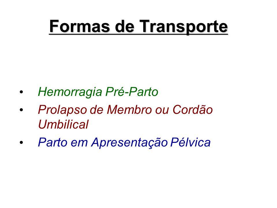 Formas de Transporte Hemorragia Pré-Parto Prolapso de Membro ou Cordão Umbilical Parto em Apresentação Pélvica