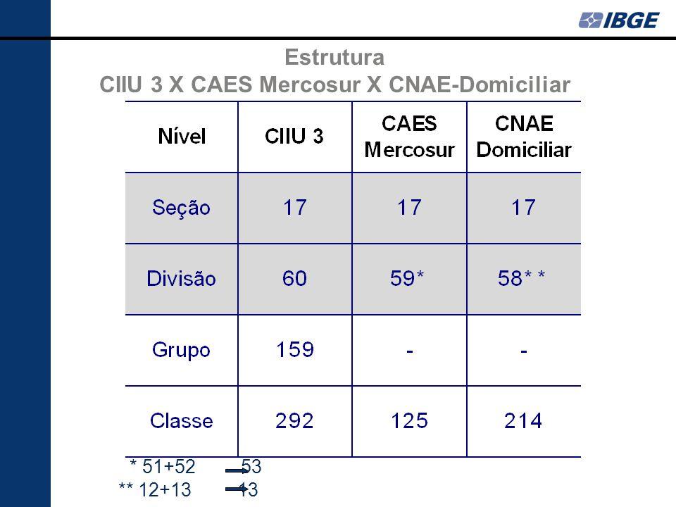 * 51+52 53 ** 12+13 13 Estrutura CIIU 3 X CAES Mercosur X CNAE-Domiciliar