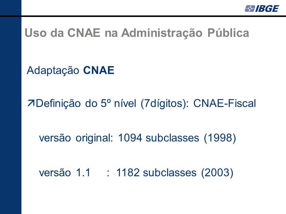 Uso da CNAE na Administração Pública Adaptação CNAE Definição do 5º nível (7dígitos): CNAE-Fiscal versão original: 1094 subclasses (1998) versão 1.1 : 1182 subclasses (2003)