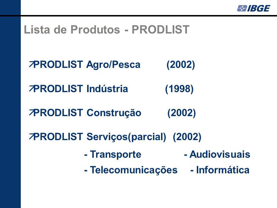 Lista de Produtos - PRODLIST PRODLIST Agro/Pesca (2002) PRODLIST Indústria (1998) PRODLIST Construção (2002) PRODLIST Serviços(parcial) (2002) - Transporte - Audiovisuais - Telecomunicações - Informática