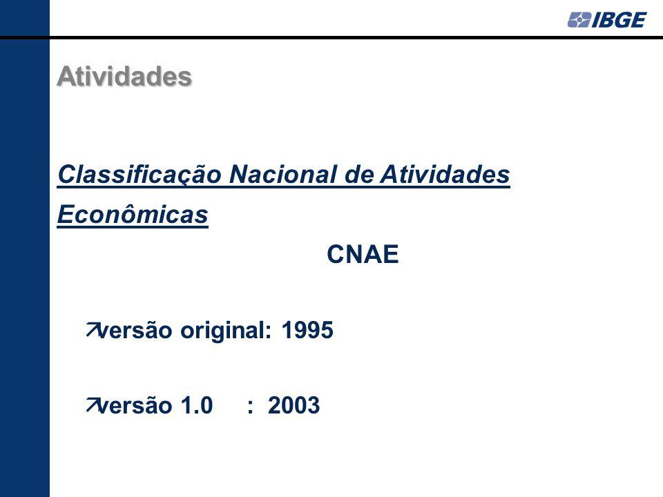 Atividades Classificação Nacional de Atividades Econômicas CNAE versão original: 1995 versão 1.0 : 2003