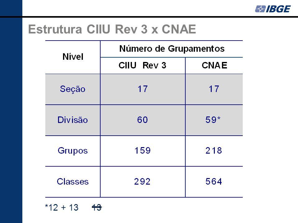 *12 + 13 13 Estrutura CIIU Rev 3 x CNAE