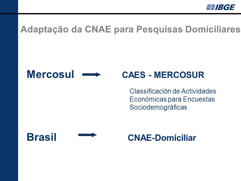 Adaptação da CNAE para Pesquisas Domiciliares Mercosul CAES - MERCOSUR Classificación de Actividades Económicas para Encuestas Sociodemográficas Brasil CNAE-Domiciliar