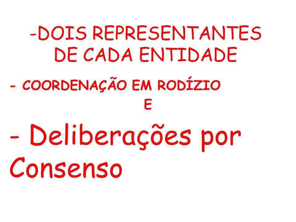 -DOIS REPRESENTANTES DE CADA ENTIDADE - COORDENAÇÃO EM RODÍZIO E - Deliberações por Consenso