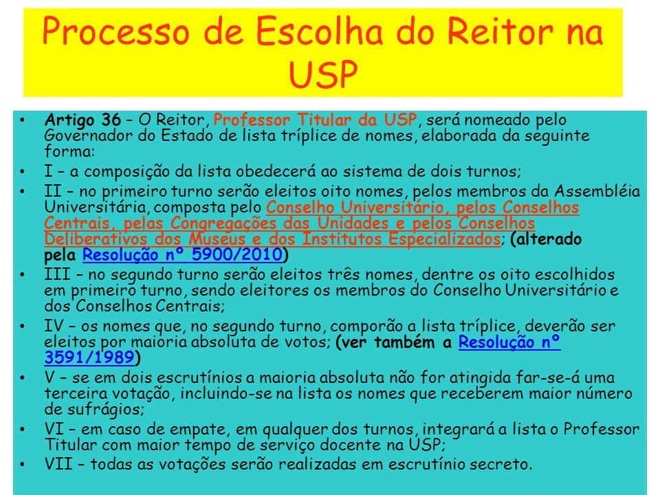 Processo de Escolha do Reitor na USP Artigo 36 – O Reitor, Professor Titular da USP, será nomeado pelo Governador do Estado de lista tríplice de nomes