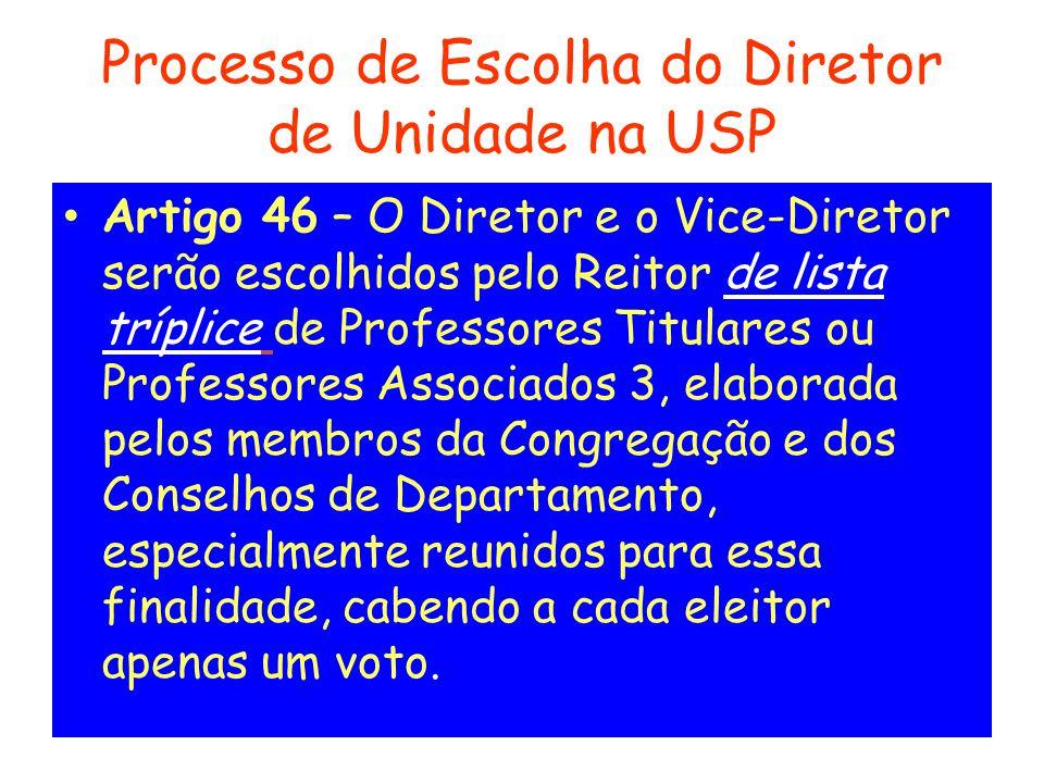 Processo de Escolha do Diretor de Unidade na USP Artigo 46 – O Diretor e o Vice-Diretor serão escolhidos pelo Reitor de lista tríplice de Professores