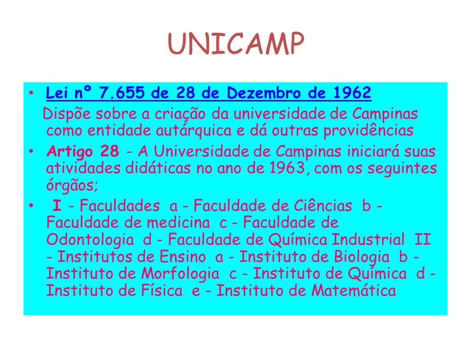UNICAMP Lei nº 7.655 de 28 de Dezembro de 1962 Dispõe sobre a criação da universidade de Campinas como entidade autárquica e dá outras providências Ar