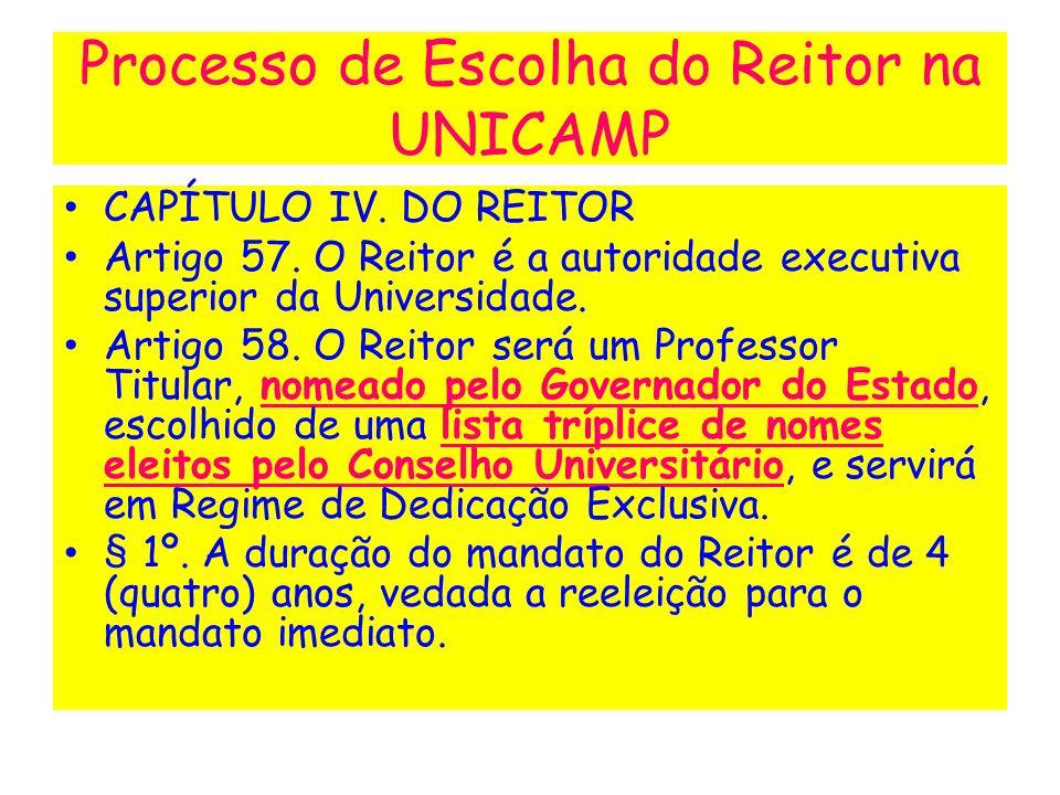 CAPÍTULO IV. DO REITOR Artigo 57. O Reitor é a autoridade executiva superior da Universidade. Artigo 58. O Reitor será um Professor Titular, nomeado p