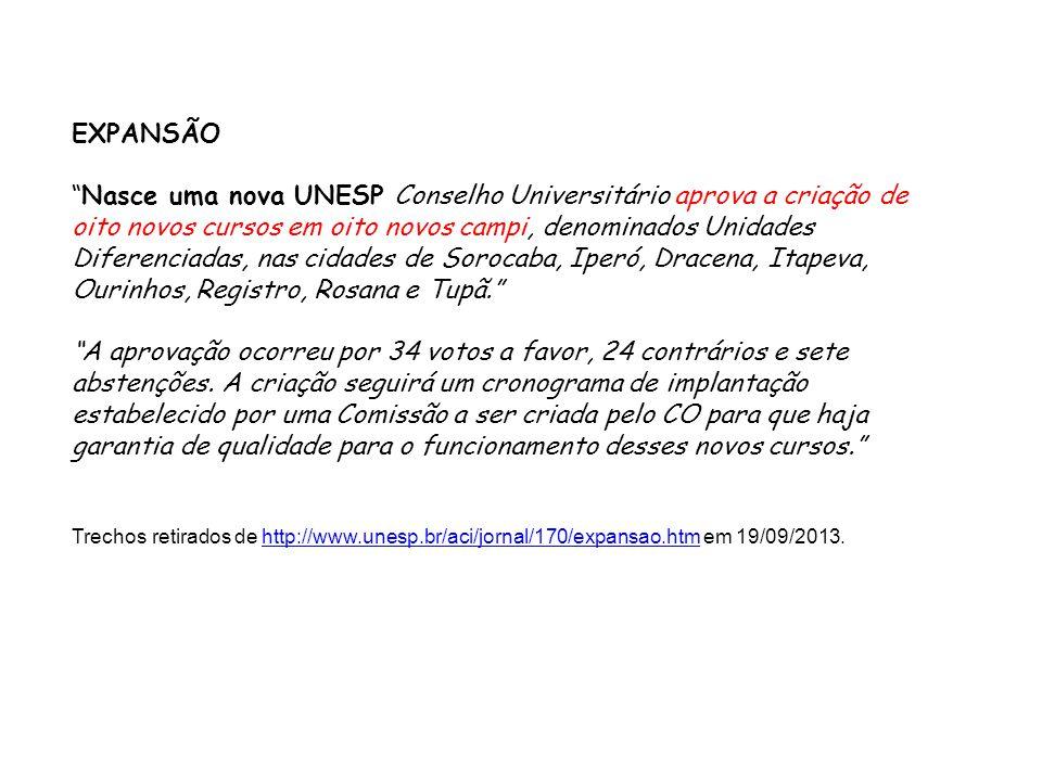 EXPANSÃO Nasce uma nova UNESP Conselho Universitário aprova a criação de oito novos cursos em oito novos campi, denominados Unidades Diferenciadas, na