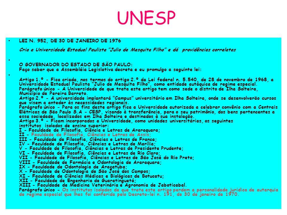 UNESP LEI N. 952, DE 30 DE JANEIRO DE 1976 Cria a Universidade Estadual Paulista