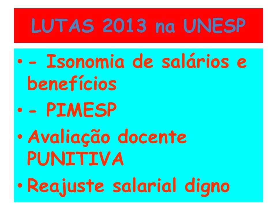 LUTAS 2013 na UNESP - Isonomia de salários e benefícios - PIMESP Avaliação docente PUNITIVA Reajuste salarial digno