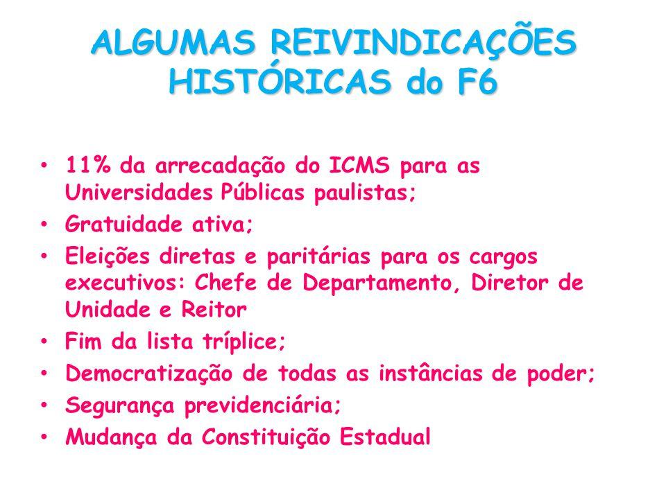 ALGUMAS REIVINDICAÇÕES HISTÓRICAS do F6 11% da arrecadação do ICMS para as Universidades Públicas paulistas; Gratuidade ativa; Eleições diretas e pari