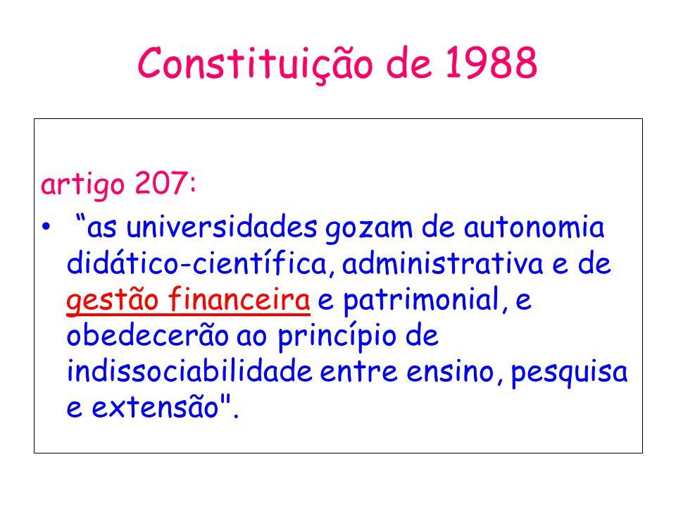 Constituição de 1988 artigo 207: as universidades gozam de autonomia didático-científica, administrativa e de gestão financeira e patrimonial, e obede
