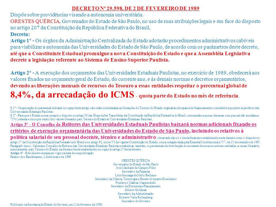 DECRETO Nº 29.598, DE 2 DE FEVEREIRO DE 1989 Dispõe sobre providências visando a autonomia universitária. ORESTES QUÉRCIA, Governador do Estado de São