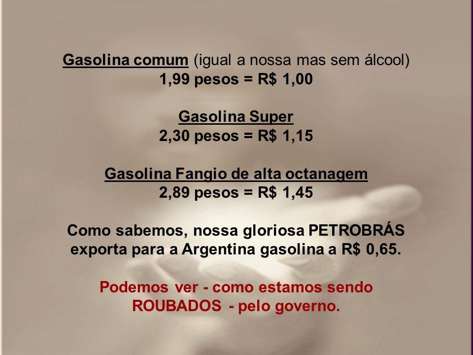 Gasolina comum (igual a nossa mas sem álcool) 1,99 pesos = R$ 1,00 Gasolina Super 2,30 pesos = R$ 1,15 Gasolina Fangio de alta octanagem 2,89 pesos = R$ 1,45 Como sabemos, nossa gloriosa PETROBRÁS exporta para a Argentina gasolina a R$ 0,65.