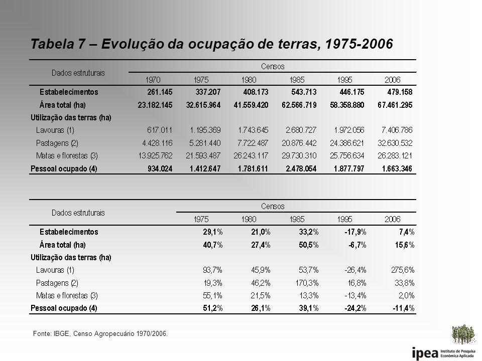Tabela 7 – Evolução da ocupação de terras, 1975-2006 Fonte: IBGE, Censo Agropecuário 1970/2006.