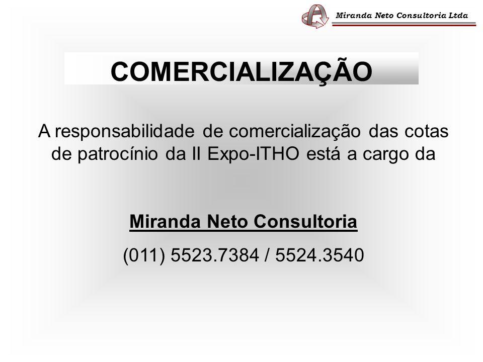 Miranda Neto Consultoria Ltda COMERCIALIZAÇÃO A responsabilidade de comercialização das cotas de patrocínio da II Expo-ITHO está a cargo da Miranda Neto Consultoria (011) 5523.7384 / 5524.3540