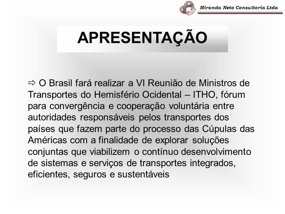 APRESENTAÇÃO O Brasil fará realizar a VI Reunião de Ministros de Transportes do Hemisfério Ocidental – ITHO, fórum para convergência e cooperação volu
