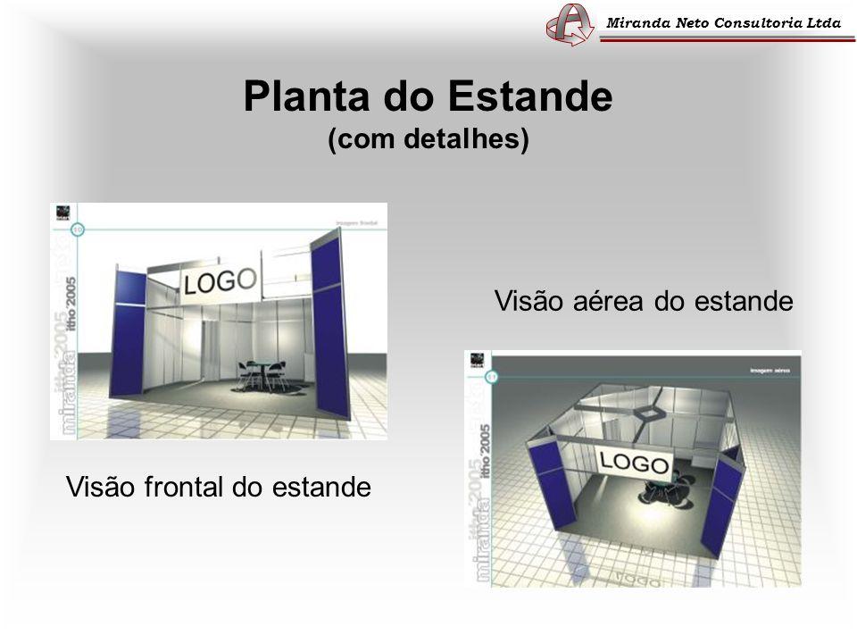 Miranda Neto Consultoria Ltda Planta do Estande (com detalhes) Visão aérea do estande Visão frontal do estande