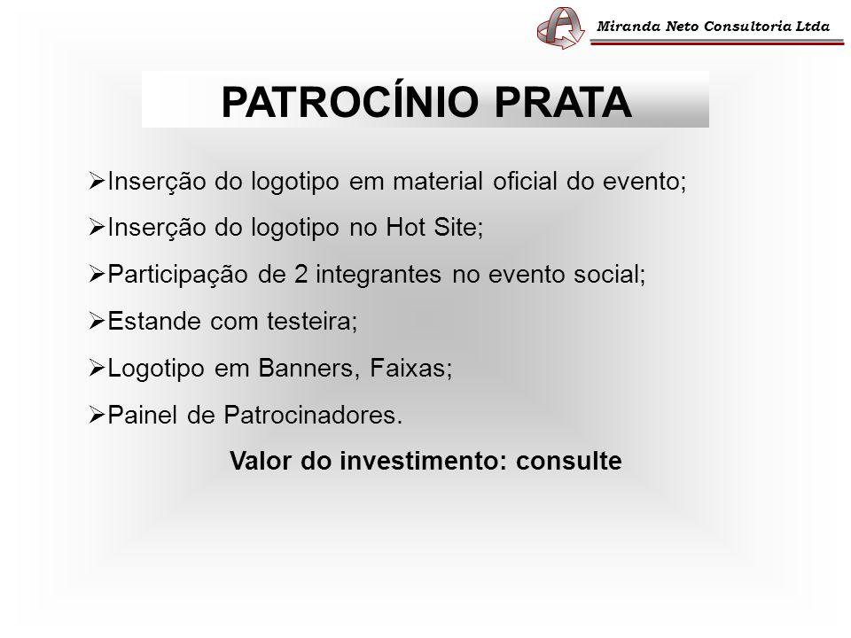 Miranda Neto Consultoria Ltda PATROCÍNIO PRATA Inserção do logotipo em material oficial do evento; Inserção do logotipo no Hot Site; Participação de 2