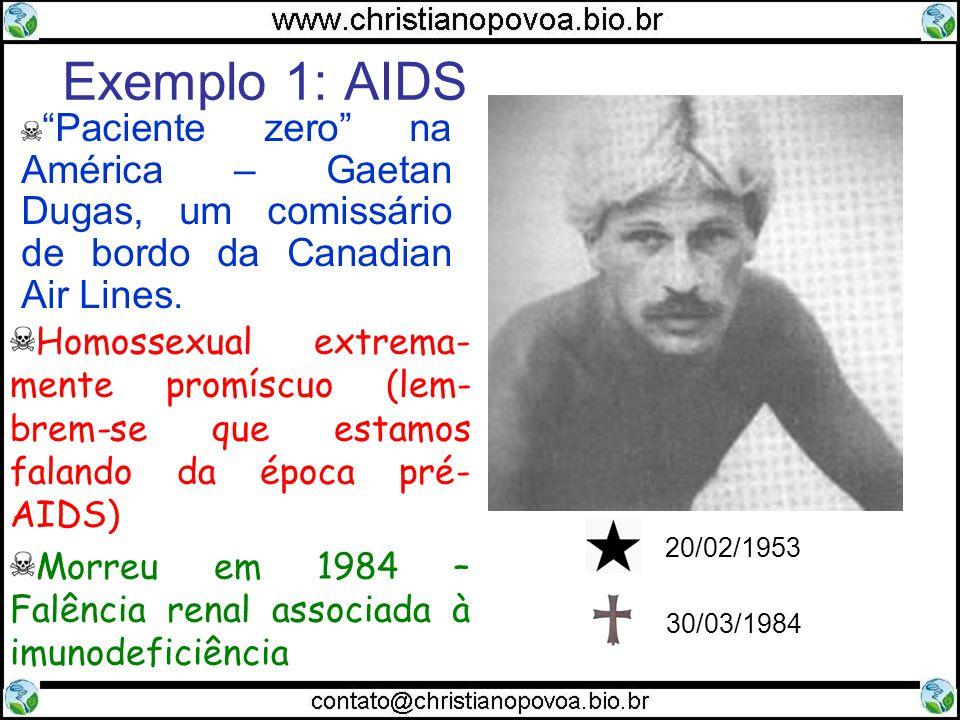 Exemplo 1: AIDS Homossexual extrema- mente promíscuo (lem- brem-se que estamos falando da época pré- AIDS) Morreu em 1984 – Falência renal associada à