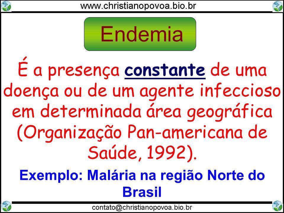 É a presença constante de uma doença ou de um agente infeccioso em determinada área geográfica (Organização Pan-americana de Saúde, 1992). Endemia Exe