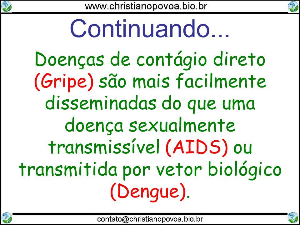 Continuando... Doenças de contágio direto (Gripe) são mais facilmente disseminadas do que uma doença sexualmente transmissível (AIDS) ou transmitida p