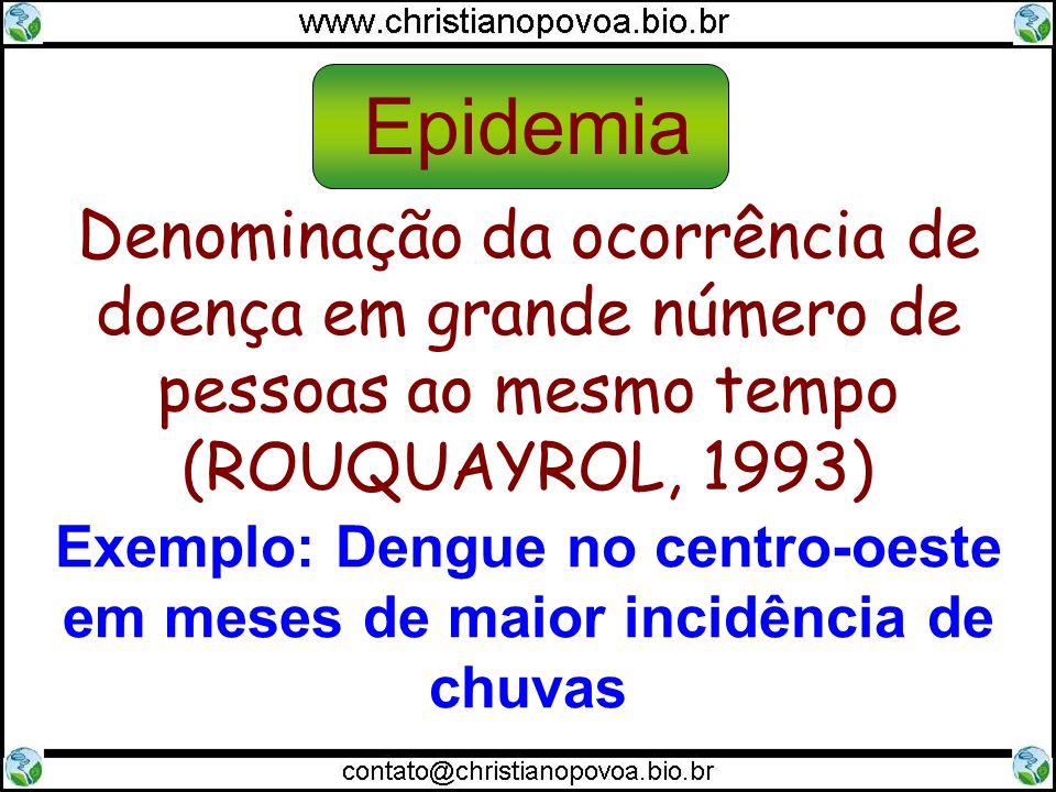Denominação da ocorrência de doença em grande número de pessoas ao mesmo tempo (ROUQUAYROL, 1993) Exemplo: Dengue no centro-oeste em meses de maior in