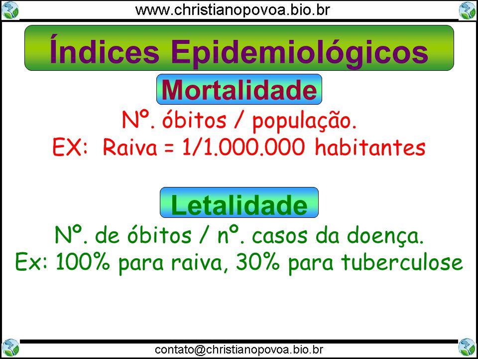 Mortalidade Nº. óbitos / população. EX: Raiva = 1/1.000.000 habitantes Letalidade Nº. de óbitos / nº. casos da doença. Ex: 100% para raiva, 30% para t