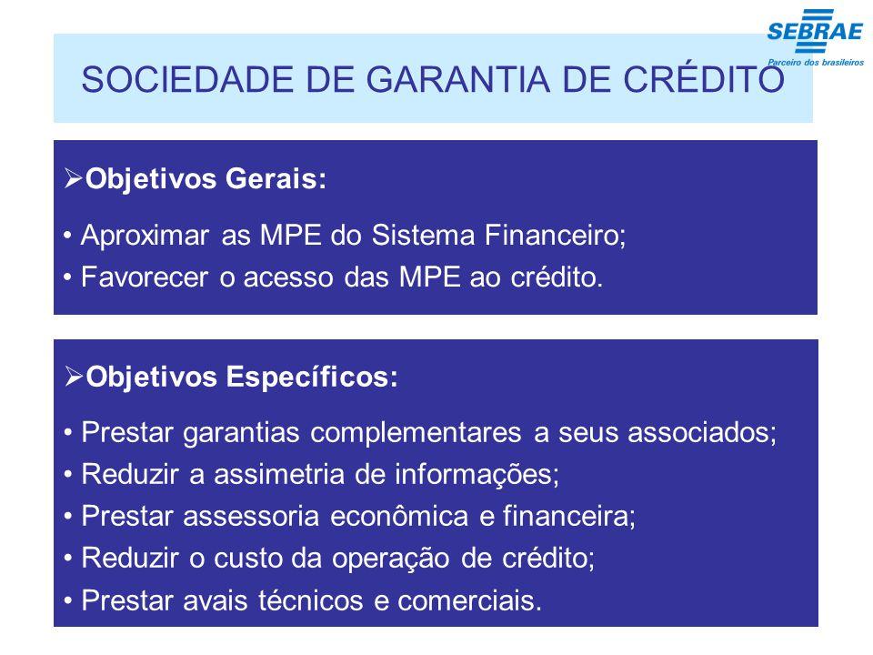 SOCIEDADE DE GARANTIA DE CRÉDITO Objetivos Gerais: Aproximar as MPE do Sistema Financeiro; Favorecer o acesso das MPE ao crédito.