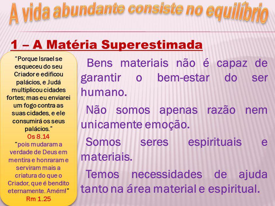 1 – A Matéria Superestimada Bens materiais não é capaz de garantir o bem-estar do ser humano. Não somos apenas razão nem unicamente emoção. Somos sere