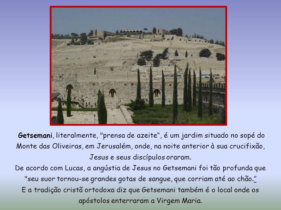 Getsemani, literalmente, prensa de azeite, é um jardim situado no sopé do Monte das Oliveiras, em Jerusalém, onde, na noite anterior à sua crucifixão, Jesus e seus discípulos oraram.