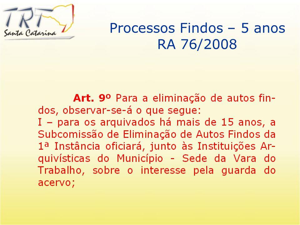 Processos Findos – 5 anos 56 Editais de eliminação concluídos 251.000 processos eliminados 3.291 processos de guarda permanente 94.951 processos digit