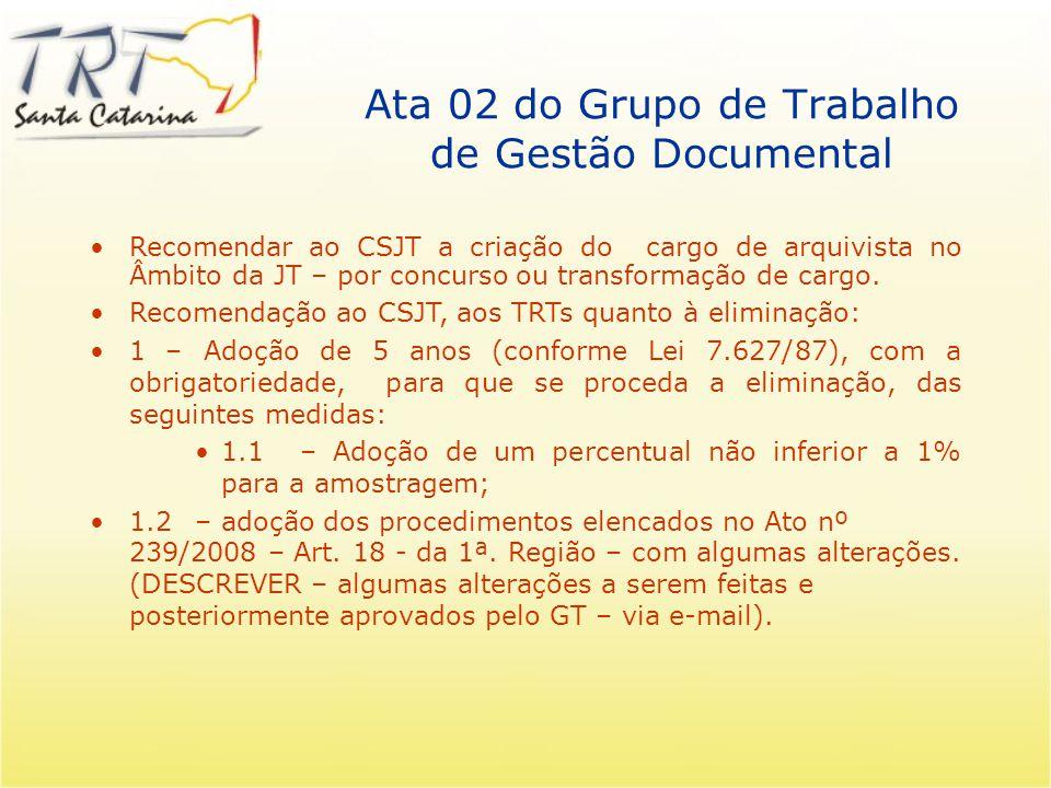 Notícias do CSJT Grupo se reuniu 02 vezes Definiu alguns parâmetros para o SUAP Estamos compilando as Tabelas de Temporalidade Estamos estudando questões relativas a autenticidade de documentos.pdf