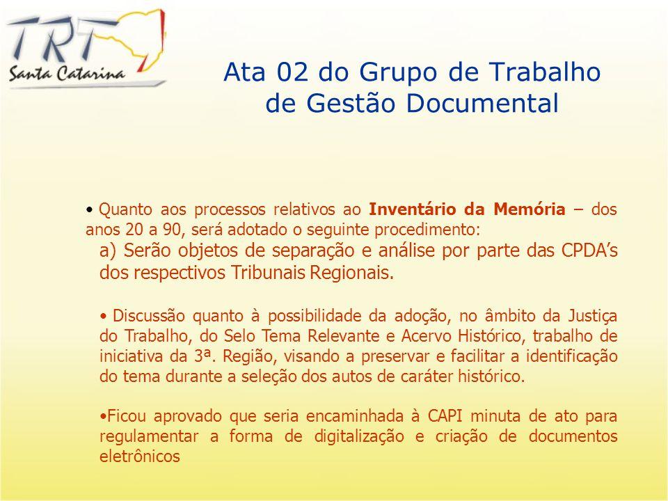 Ata 02 do Grupo de Trabalho de Gestão Documental Recomendar ao CSJT a criação do cargo de arquivista no Âmbito da JT – por concurso ou transformação de cargo.
