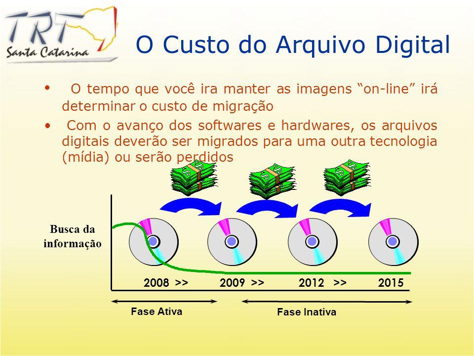 O Custo do Arquivo Digital O tempo que você ira manter as imagens on-line irá determinar o custo de migração Com o avanço dos softwares e hardwares, os arquivos digitais deverão ser migrados para uma outra tecnologia (mídia) ou serão perdidos 2008 >> 2009 >> 2012 >> 2015 Fase Inativa Fase Ativa Busca da informação