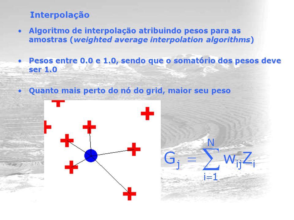 Interpolação Algoritmo de interpolação atribuindo pesos para as amostras (weighted average interpolation algorithms)Algoritmo de interpolação atribuindo pesos para as amostras (weighted average interpolation algorithms) Pesos entre 0.0 e 1.0, sendo que o somatório dos pesos deve ser 1.0Pesos entre 0.0 e 1.0, sendo que o somatório dos pesos deve ser 1.0 Quanto mais perto do nó do grid, maior seu pesoQuanto mais perto do nó do grid, maior seu peso