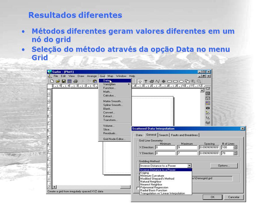 Resultados diferentes Métodos diferentes geram valores diferentes em um nó do gridMétodos diferentes geram valores diferentes em um nó do grid Seleção do método através da opção Data no menu GridSeleção do método através da opção Data no menu Grid