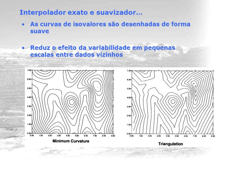 As curvas de isovalores são desenhadas de forma suaveAs curvas de isovalores são desenhadas de forma suave Reduz o efeito da variabilidade em pequenas escalas entre dados vizinhosReduz o efeito da variabilidade em pequenas escalas entre dados vizinhos Interpolador exato e suavizador…