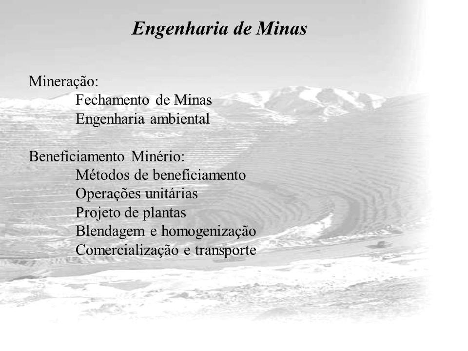 Engenharia de Minas Mineração: Fechamento de Minas Engenharia ambiental Beneficiamento Minério: Métodos de beneficiamento Operações unitárias Projeto de plantas Blendagem e homogenização Comercialização e transporte