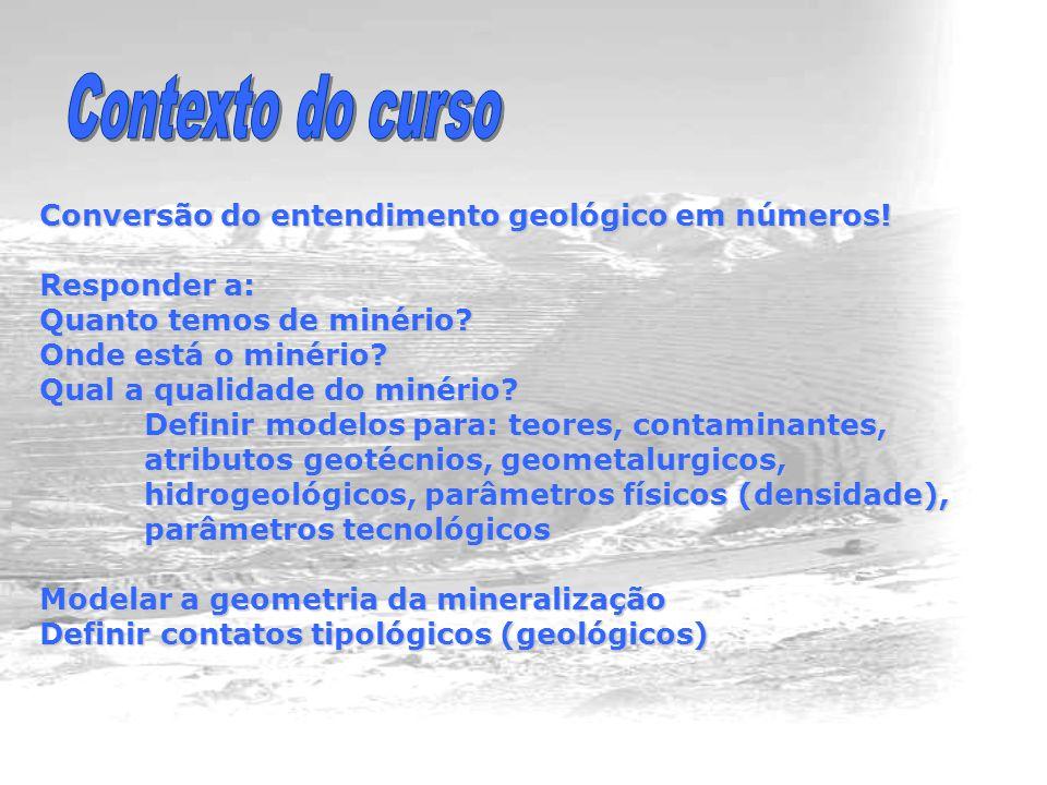 Conversão do entendimento geológico em números.Responder a: Quanto temos de minério.