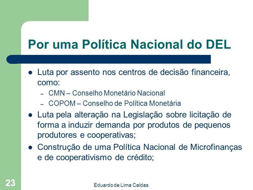 Eduardo de Lima Caldas 23 Luta por assento nos centros de decisão financeira, como: – CMN – Conselho Monetário Nacional – COPOM – Conselho de Política