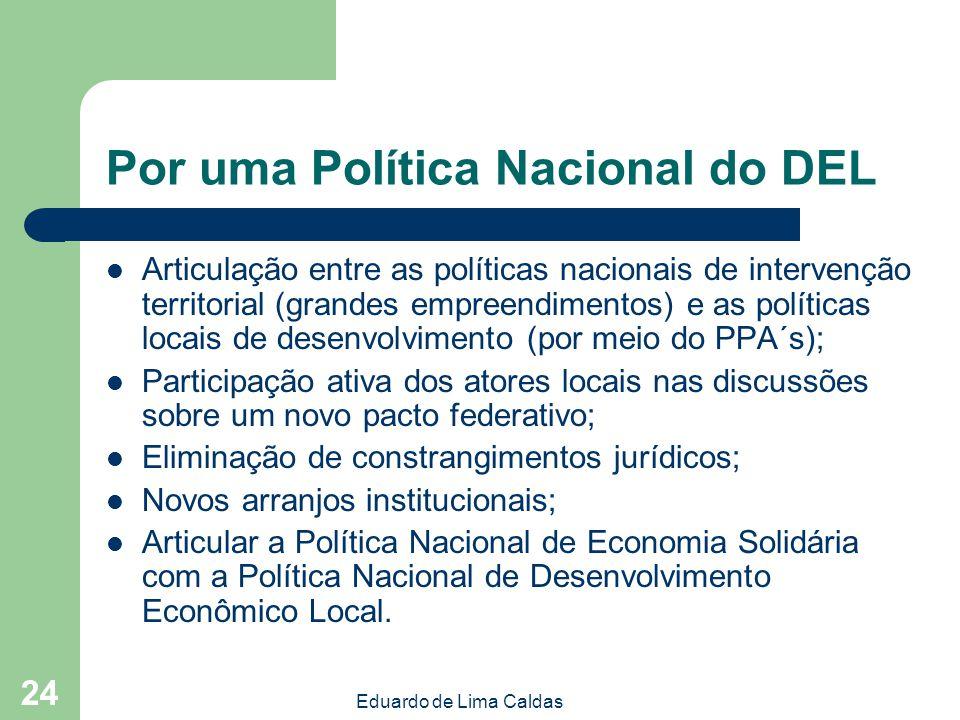 Eduardo de Lima Caldas 24 Por uma Política Nacional do DEL Articulação entre as políticas nacionais de intervenção territorial (grandes empreendimento