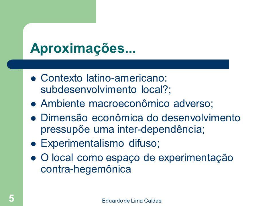 Eduardo de Lima Caldas 5 Aproximações... Contexto latino-americano: subdesenvolvimento local?; Ambiente macroeconômico adverso; Dimensão econômica do