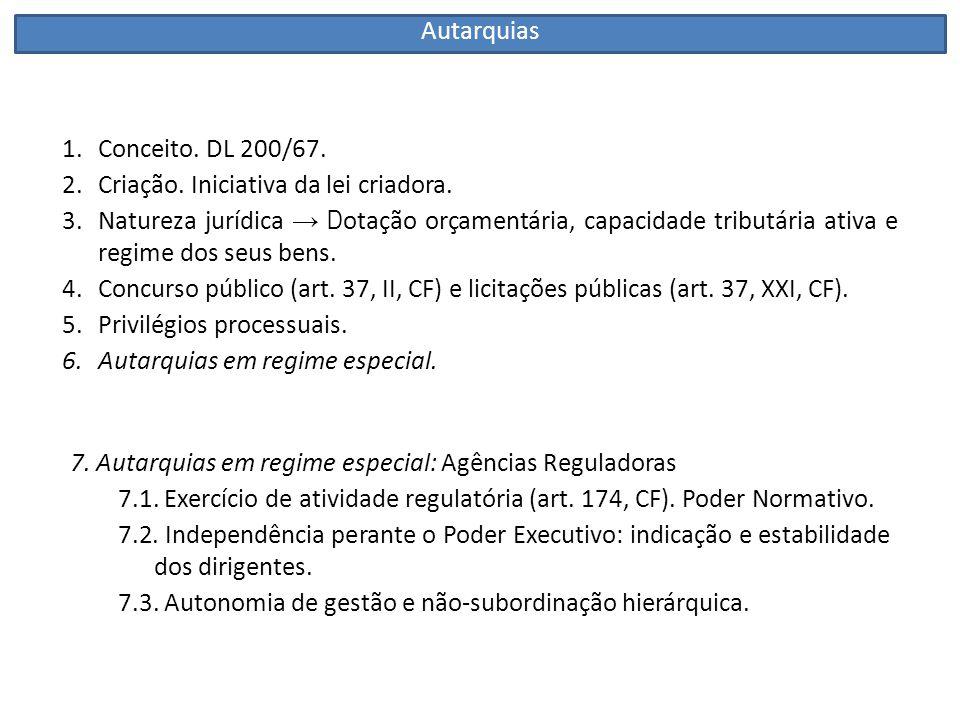 1.Conceito: doutrina.Art. 5º, IV do DL 200/67. 2.Criação: Lei + Registro Civil.